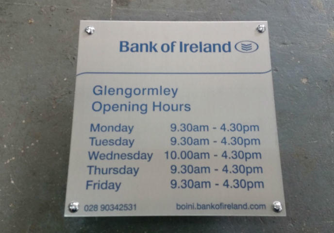 Stainless Plaque - Bank Of Ireland
