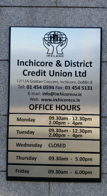 Plaques - Satainless Steel Plaque With Raised Lettering - Inchicore Credit Union Dublin