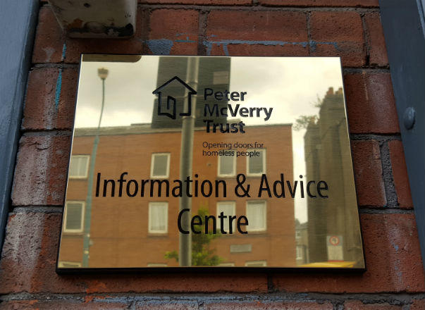 Peter Mc Verry Trust - Brass Plaque - Signage Dublin