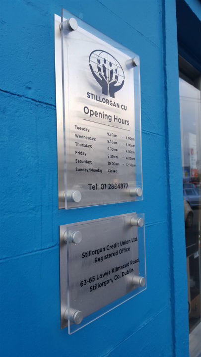 Stainless Steel Plaque with Perspex cover - Credit Union Dublin