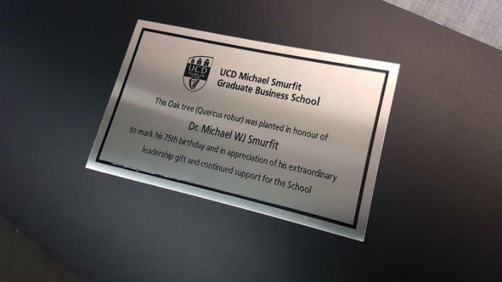 Stainless Steel Business Plaques With Wooden Mount