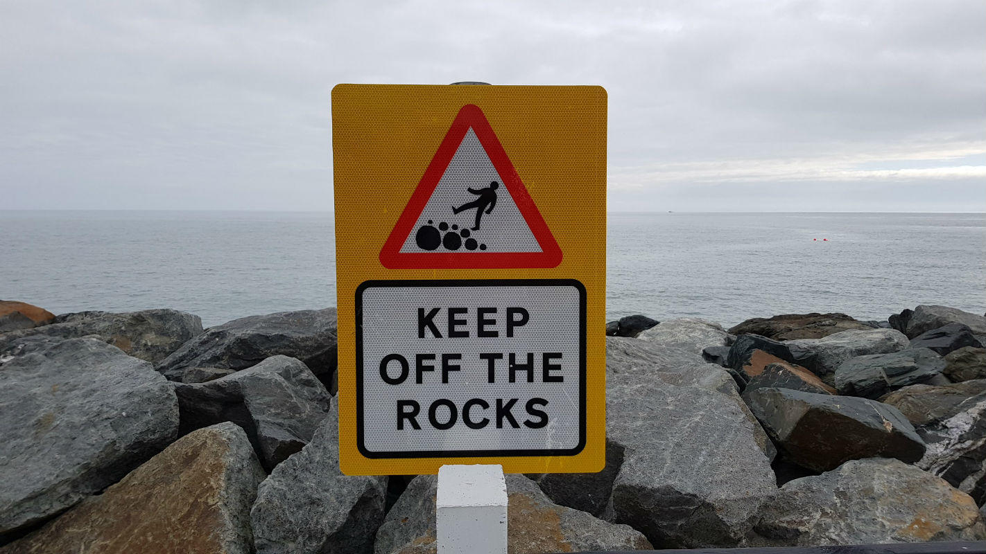 Safety Signs - Keep off the rocks