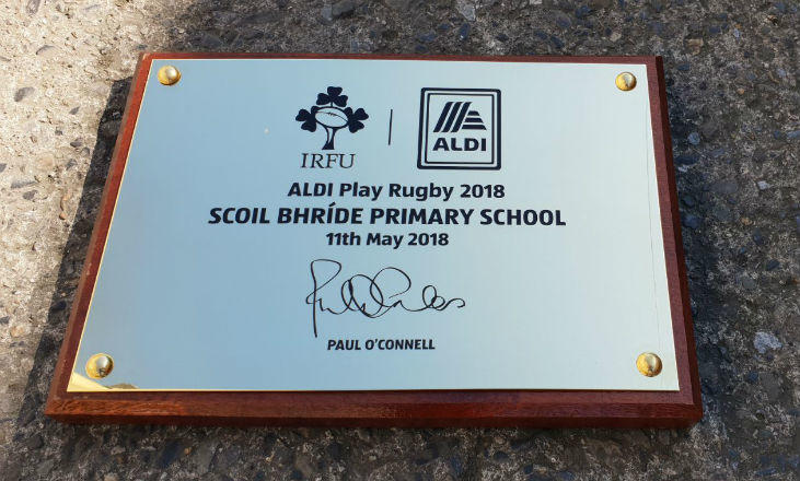 Polished Brass Plaques - IRFU & Aldi Play Rugby
