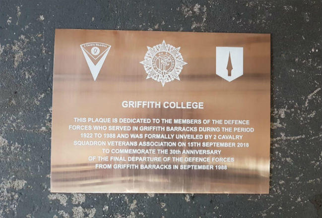 Bronze Commemorative Plaque Griffith College Dublin
