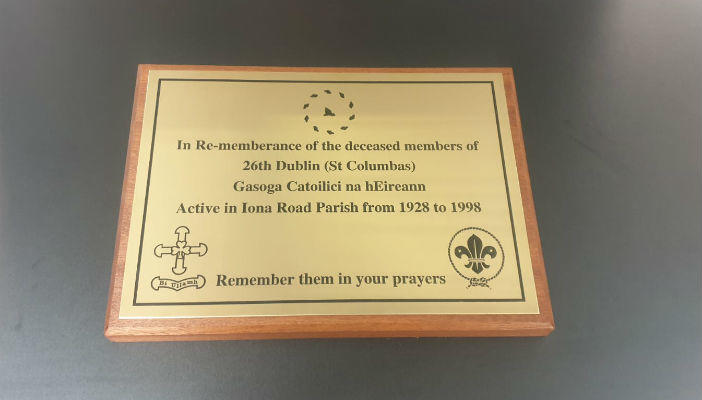 Brass Memorial Plaque With Wooden Base