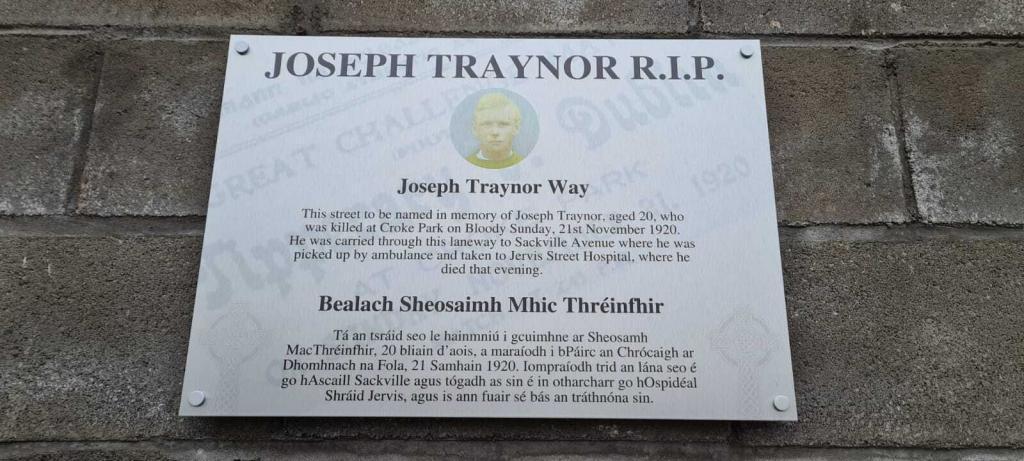 Brushed Aluminium Joseph Traynor - Bloody Sunday Plaque